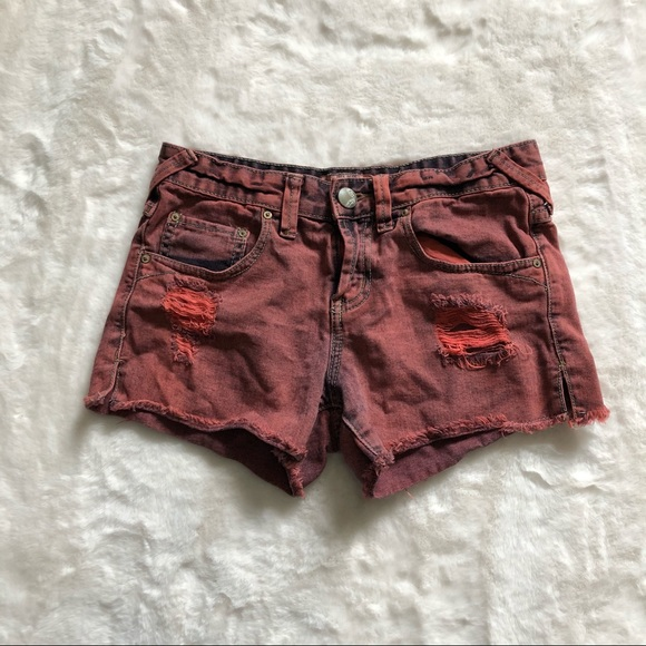 Free people acid wash distressed shorts size 24